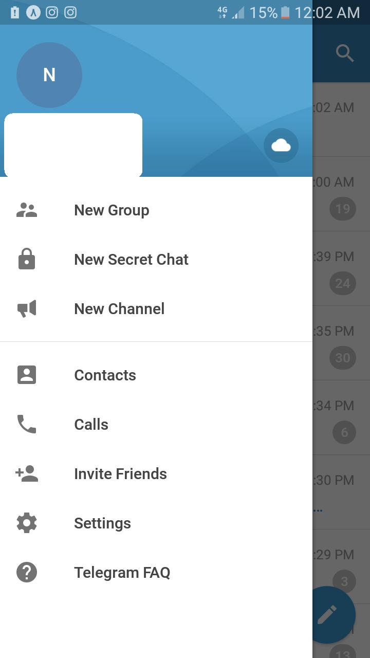 صفحه منوی اصلی تلگرام