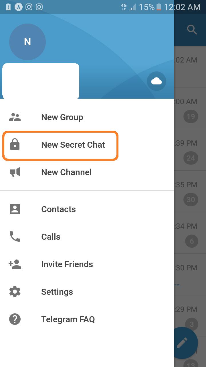 گفتگوی محرمانه در تلگرام