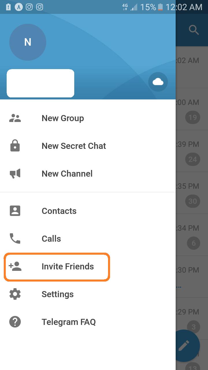 دعوت از دوستان در تلگرام