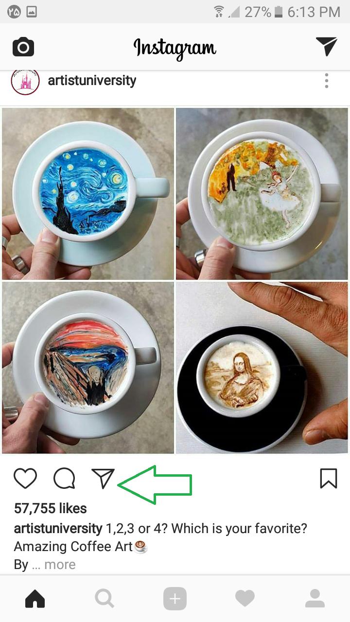 چگونه عکس های دیگران را برای یک شخص دیگر در اینستاگرام بفرستیم ؟
